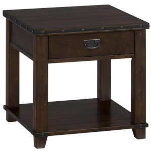 Cassidy Brown Traditional Plank Top End Table with Drawer Shelf and Nail Head Treatment