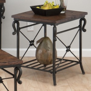 Rutledge Pine Rectangular End Table with Metal Slat Shelf