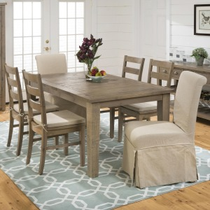 Slater Mill Pine Rectangular Table Ladderback Chair And Slipcover Skirted Parson Chair  Set