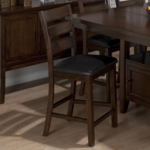 Taylor Brown Cherry Triple Slat Counter Height Stool with Faux Leather Seat