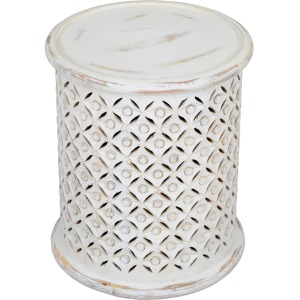 Global Archive Decker Small Drum Table - Antique White