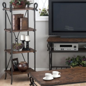 Rutledge Pine Etagere with 4 Wooden Shelves and Steel Frame