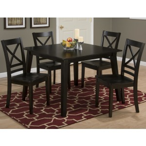 Simplicity Square Table and 4 Chair Set with X Back Chairs