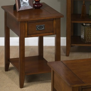 Mission Oak Chairside Table with 1 Drawer and 1 Shelf