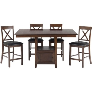 Olsen Oak 5-Piece Casual Counter Height Pedestal Table X-Back Stool Set