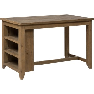 Slater Mill Pine Counter Height Table with 3 Shelf Storage