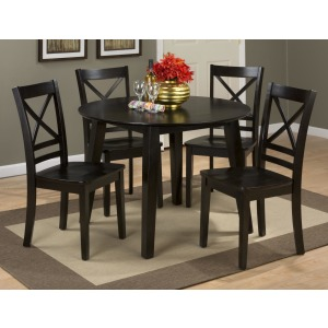 Simplicity Round Table and 4 Chair Set with X Back Chairs