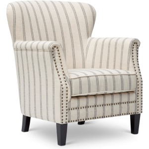 Layla Accent Chair with Nailhead Trim in Flax