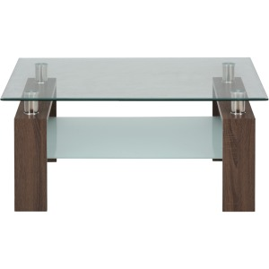 Compass Square Cocktail Table Glass Top