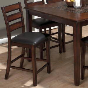 Baroque Brown Slat Back Pub Stool with Faux Leather Seat
