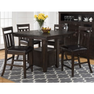 Kona Grove Pub Table with Storage Base and Chairs 5-Piece Set