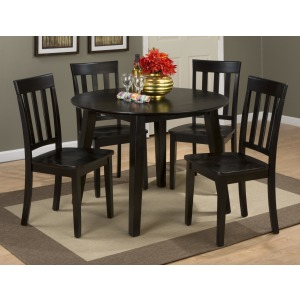 Simplicity Round Table and 4 Chair Set with Slat Back Chairs