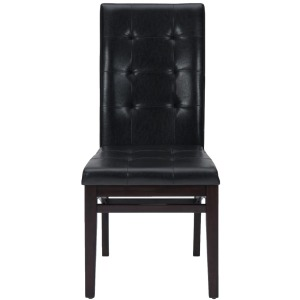 Chadwick Espresso Tufted Parson Chair with Shaped Stretchers