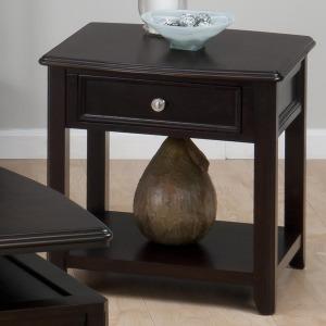 Corranado Espresso Casual Espresso End Table with Drawer  Shelf