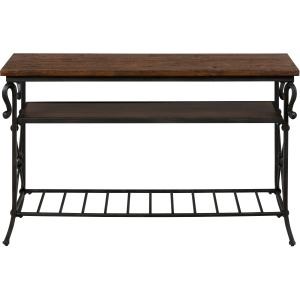 Rutledge Pine Sofa/Media Table with 2 Shelves