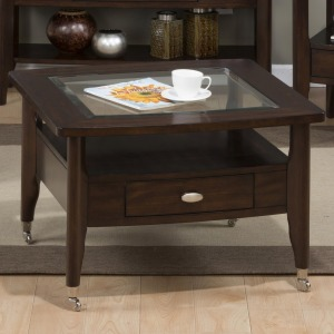 Montego Merlot Square Cocktail Table with Chrome Casters in Medium Size