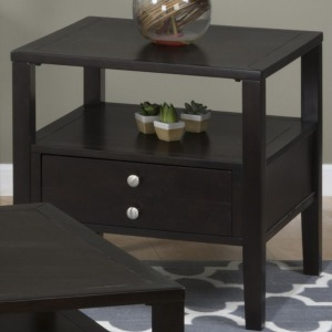 Hamilton Espresso End Table with Drawer and Shelf