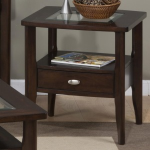 Montego Merlot Square End Table with Glass Top