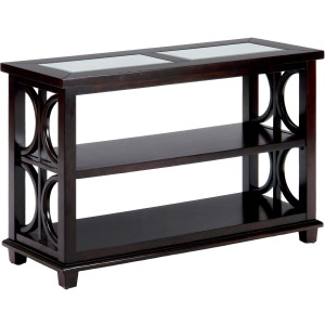 Panama Brown Contemporary Beveled Glass Sofa Table with Concentric Circle Design