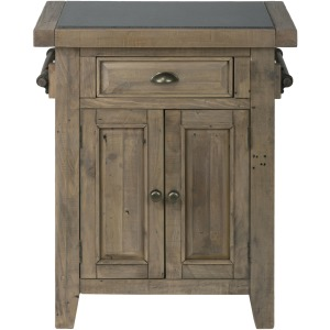 Slater Mill Pine Small Kitchen Island with Granite Top