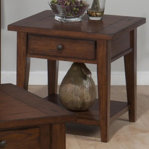 Clay County Oak Sqaure End Table with 1 Drawer