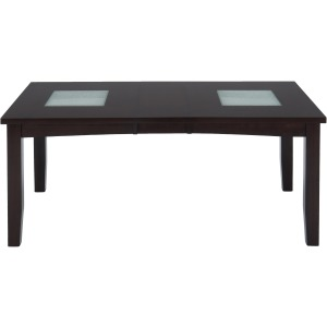 Chadwick Espresso Rectangle Extension Table with Crackled Glass Inserts