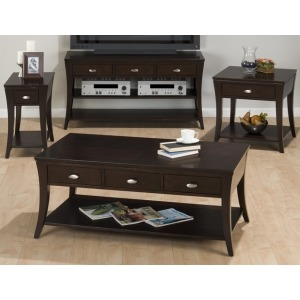 Double Header Cocktail Table with Pull-thru Drawers, Shelf and Casters