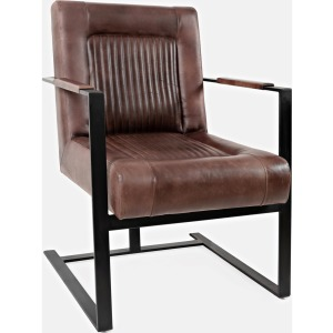 Maguire Leather Accent Chair - Dark Sienna