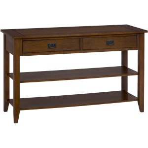 Mission Oak Sofa or Media Table with 2 Drawers and 2 Shelves
