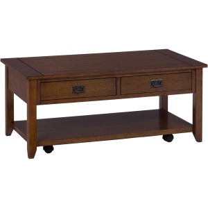 Mission Oak Castered Cocktail Table with 2 Pull-Thru Drawers