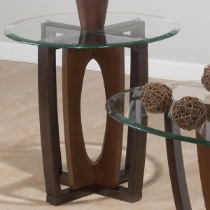 Ellipse Cherry Contemporary Round Glass Top End Table with Concentric Base