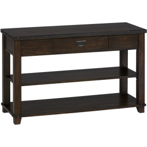 Cassidy Brown Traditional Plank Top Sofa Table with Drawer and 2 Shelves