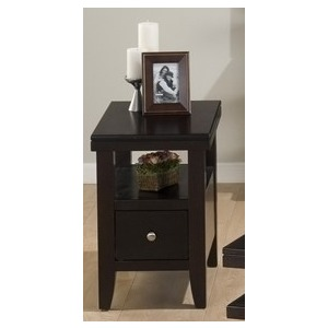 Chairside Table with Wood Top Drawer and Shelf