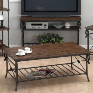 Rutledge Pine Cocktail Table with Metal Slat Shelf