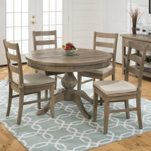 Slater Mill Pine Round Table and Ladderback Chair Set