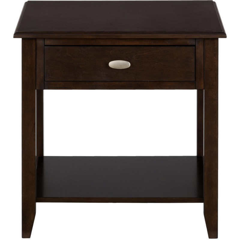 Merlot End Table with 1 Drawer and Shelf