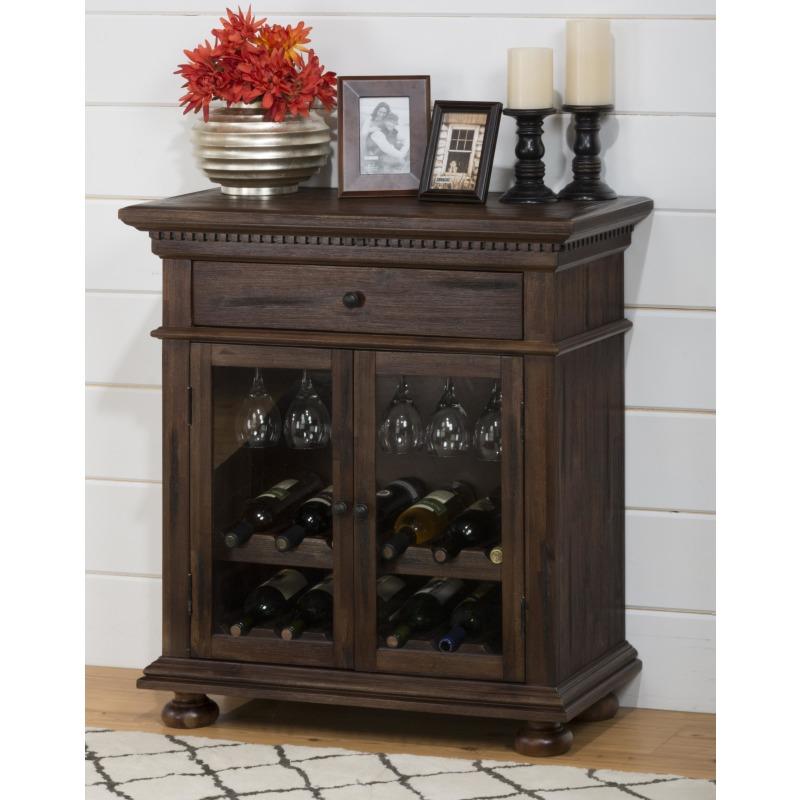 Geneva Hills Wine Cabinet with Stemware Storage and Dentil Moulding