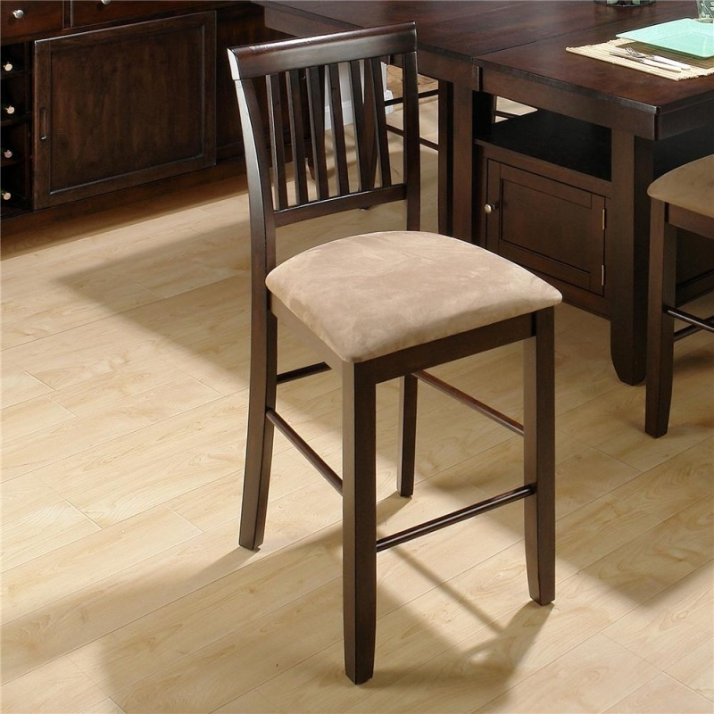 Contemporary Slat Back Counter Height Stool with Upholstered Seat