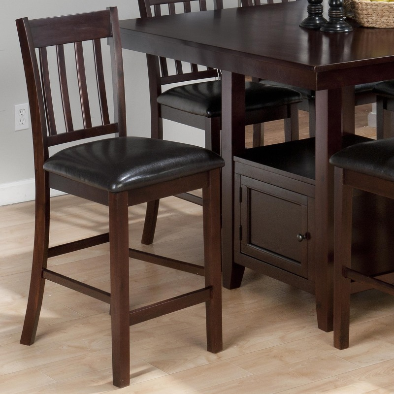 Tessa Chianti Casual 4-Slat Back Bar Stool with Faux Leather Seat Cushion