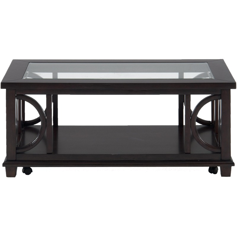 Panama Brown Contemporary Coffee Table with Beveled Glass Top and Casters