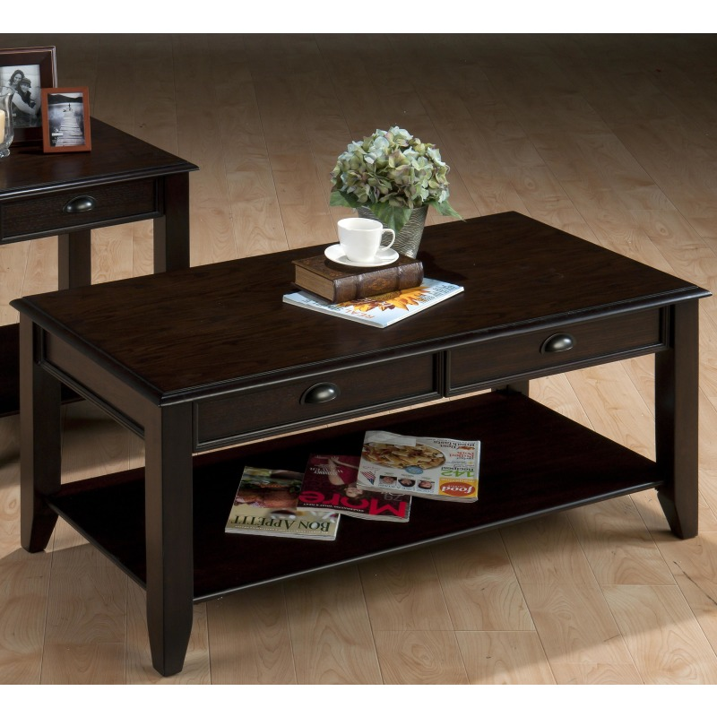 Bartley Oak Casual Cocktail Table with Two Drawers and One Shelf
