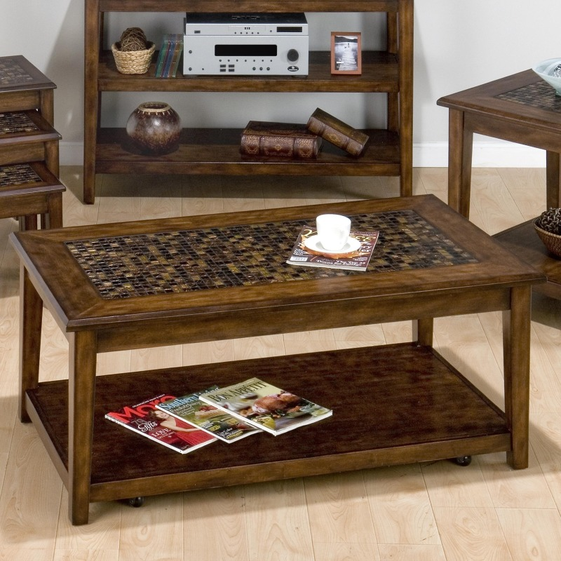 Baroque Brown Mosaic Tile Inlay Cocktail Table with Hidden Casters