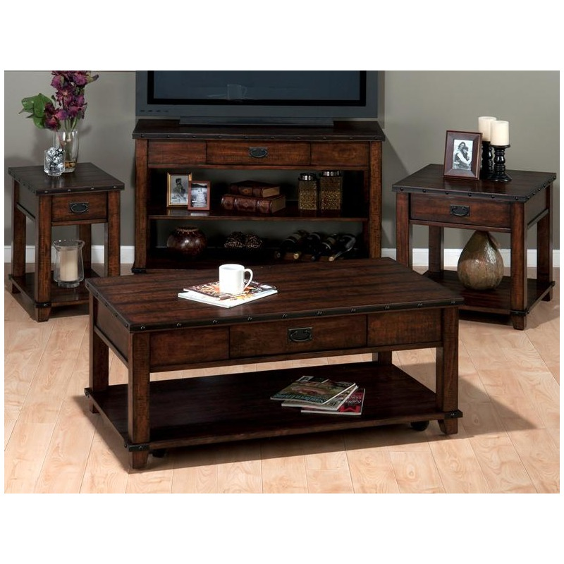 Cassidy Brown Traditional Plank Top Cocktail Table with Pull-Thru Drawer and Shelf