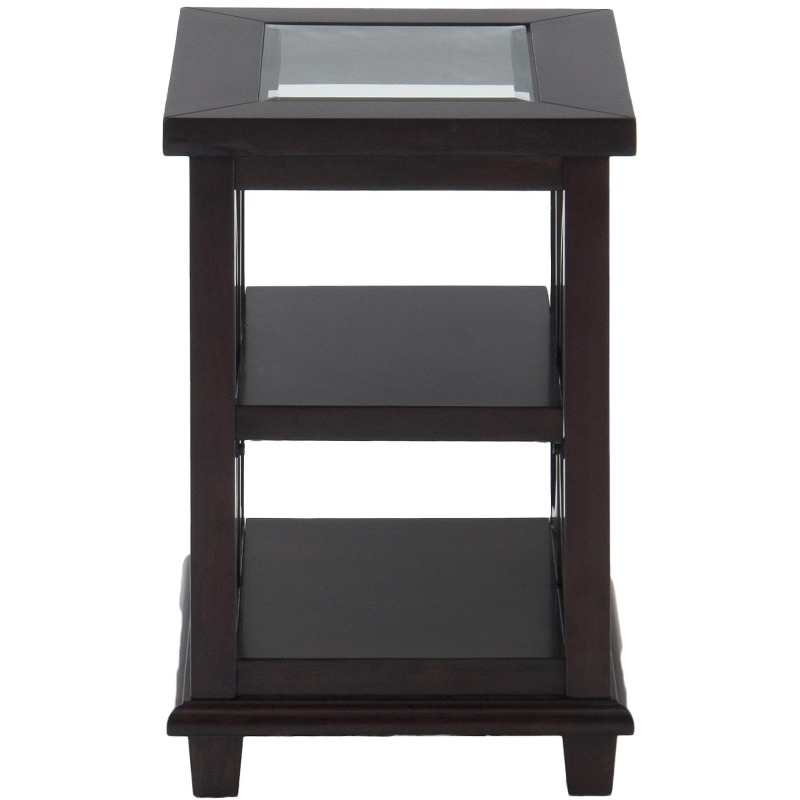 Panama Brown Contemporary Beveled Glass Chairside Table with Concentric Circle Design