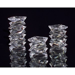105X6X6 Lg Stacked Crystal Candleholder