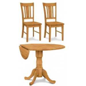 Dropleaf Pedestal Table & 2 San Remo Side Chairs