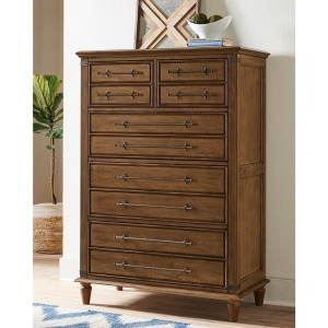 Farmhouse Chic 5-Drawer Chest in Bourbon