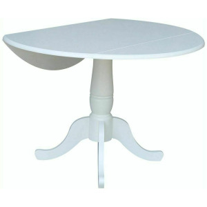 Round Dropleaf Pedestal Table in Pure White
