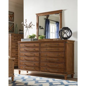 Farmhouse Chic 6-Drawer Dresser - Bourbon