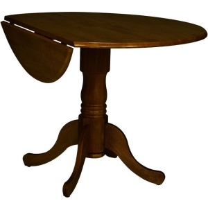 Round Dropleaf Pedestal Table in Espresso